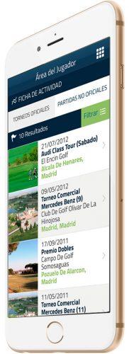 caracteristicas de la app de golf